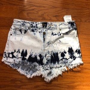 Guess High Waisted Acid Wash Shorts